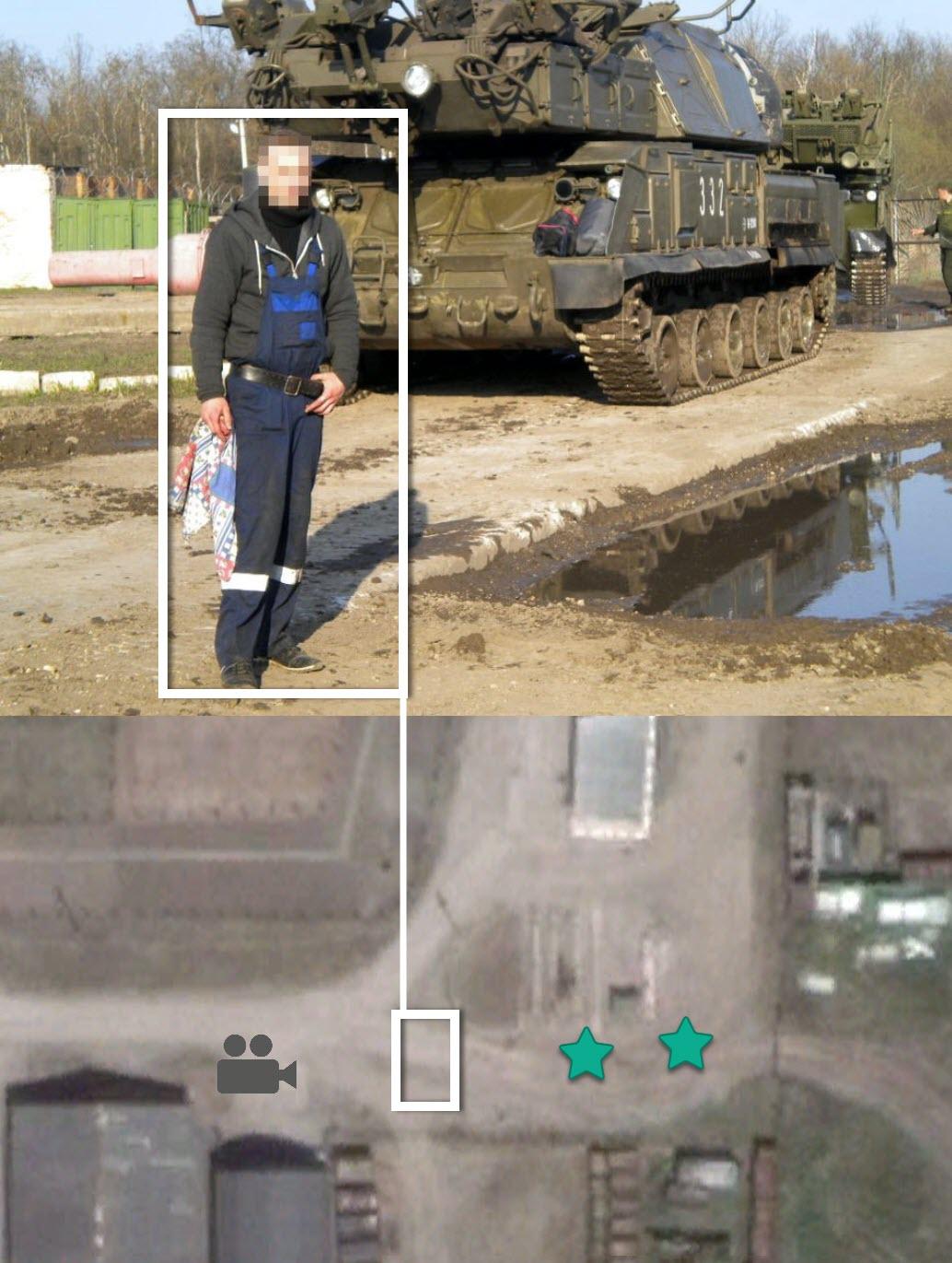 Слева внизу: фотография механика, вероятно 2013 года, на которой виден Бук 332. Слева вверху: фотография курсанта, снятая в августе 2014 года, также виден розовый контейнер