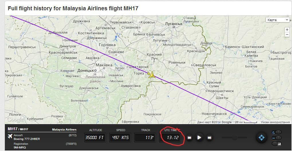 Маршрут сбитого Боинга 777 над Донбассом