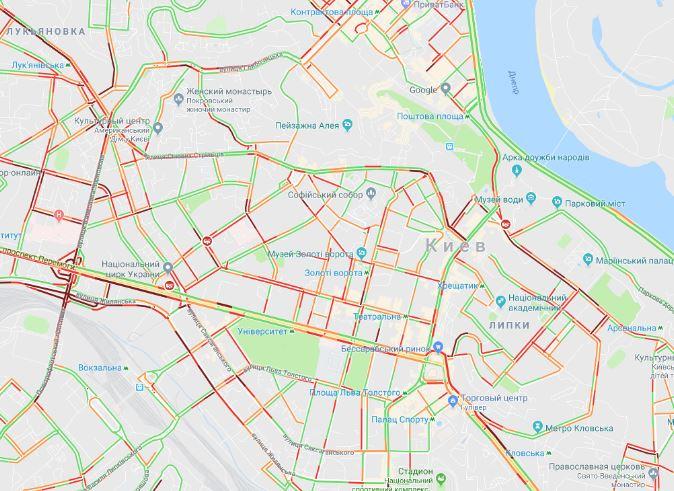 Движение усложнено почти по всему центру города