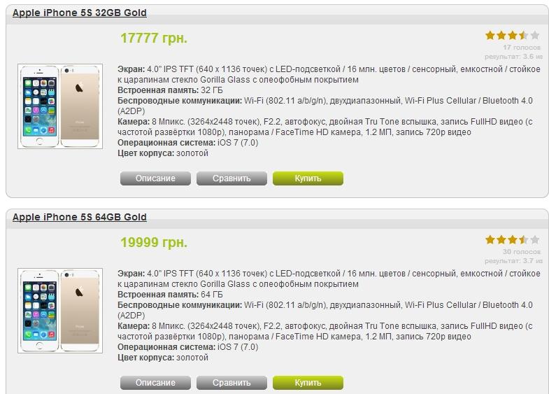 Цены на iPhone 5S в Украине