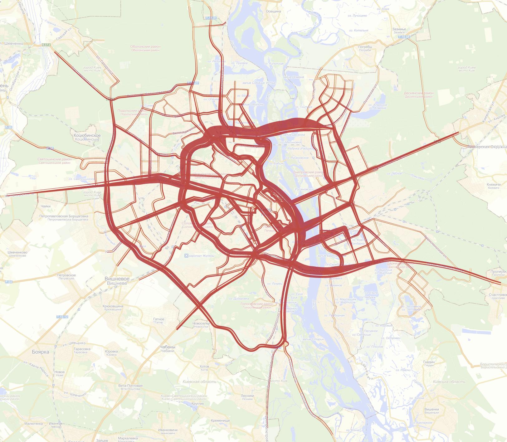 Загруженность киевских дорог утром (с 08:00 до 10:00). По данным с 3 по 14 декабря.