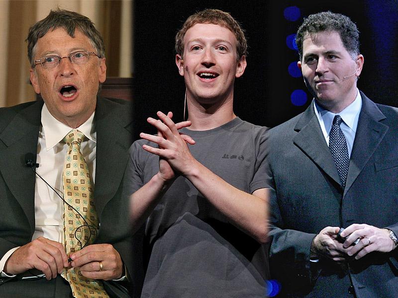 Слева направо: Билл Гейтс, Марк Цукерберг, Майкл Делл