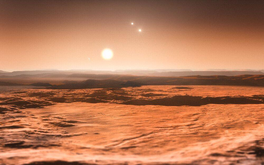 Так представляет художник вид с открытой планеты на три солнца