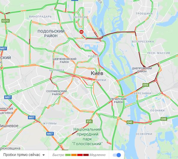 В Киеве наблюдаются рекордные за весь карантин пробки