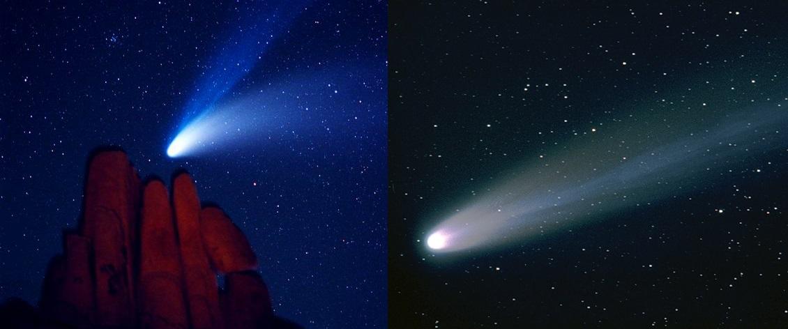 Слева направо: кометы Хейла-Боппа и Хякутакэ