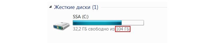 Вместо 120 ГБ доступно всего 104 ГБ