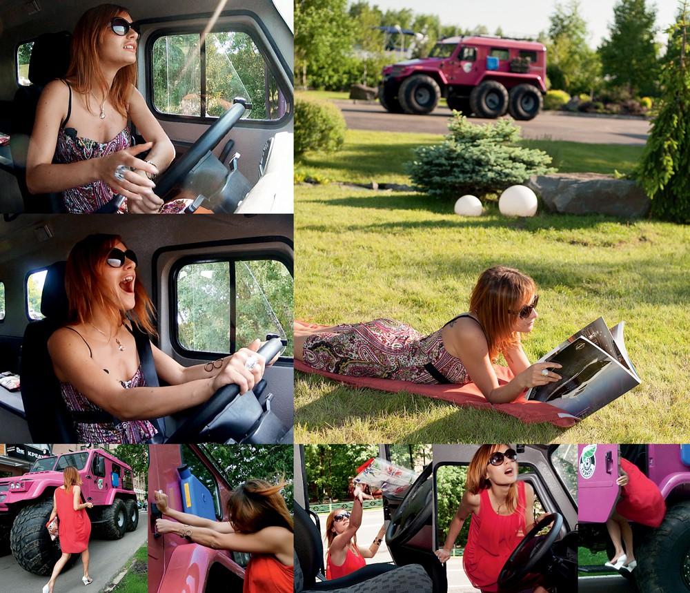 Девушка Таня освоила тонкости управления вездеходом
