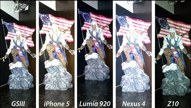 Фотография статуэтки со вспышкой. У Nexus 4 и iPhone 5 фотография слишком засвечена, у Galaxy S III дела чуть лучше, но у Z10 и Lumia 920 фотография получилась лучше всех.