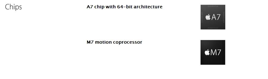 Спецификация iPhone 5S. Заметь, указано, что процессор A7 64-битный, однако не приводятся данные о его частотах и количестве оперативной памяти.