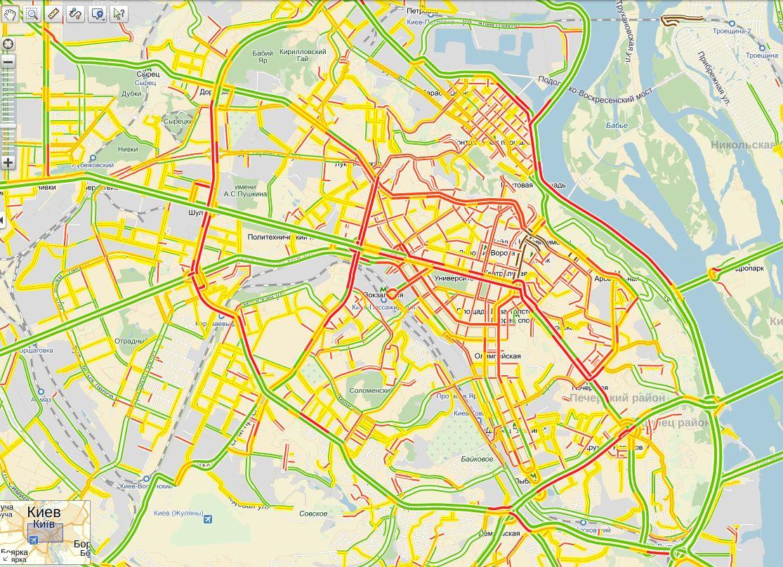 Пробки в Киеве: Яндекс показывает 8 баллов вечером 26 декабря