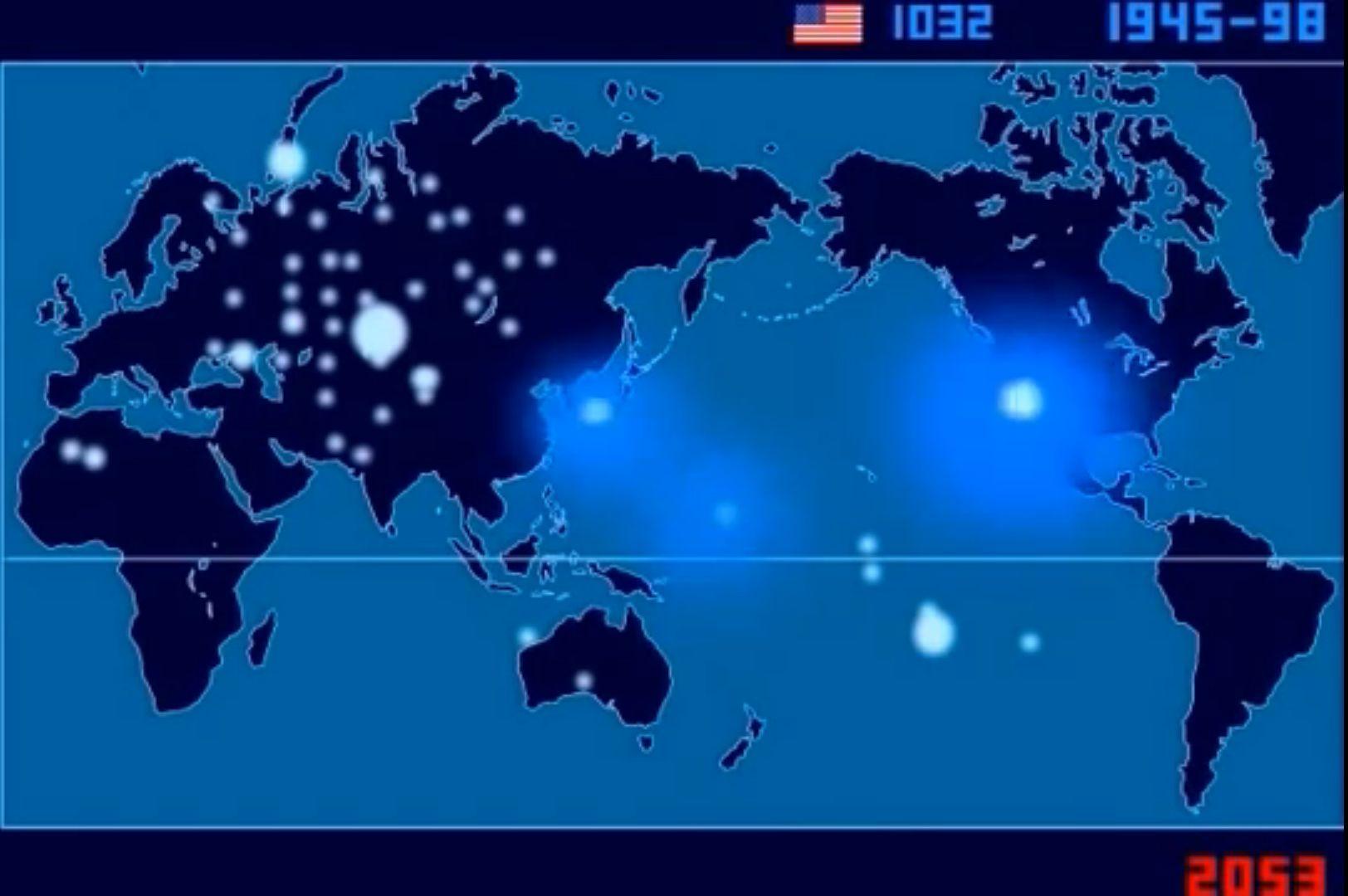Карта атомных взрывов
