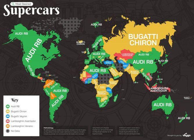 Также была опубликована карта самых популярных суперкаров по регионам