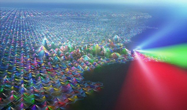 Чикаго полностью накрыт сетками радиосигналов от сотовой связи. Разные цвета означают разных операторов.