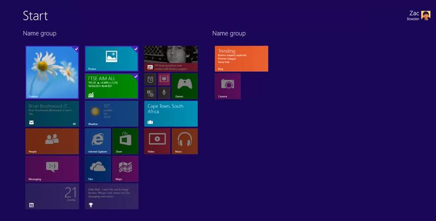 В Windows 8.1 будут добавлены новые размеры плиток и группы для них