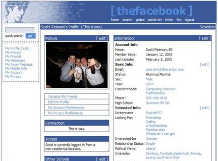 Первый дизайн TheFacebook