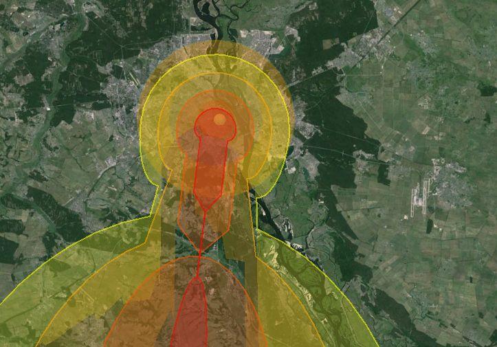 Зона поражения и распространение радиации