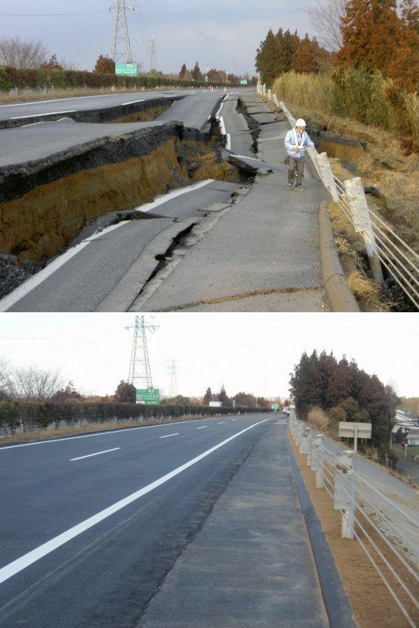 Вот так за 6 дней в Японии починили разрушенную землетрясением дорогу