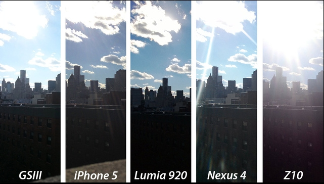 Съемка против солнца. В этом, довольно тяжелом тесте никто не справился идеально. У Z10 получилась самая засвеченная солнцем фотография. У Nexus 4 и iPhone 5 от солнечного света получились блики на снимке. Galaxy S III показал бы хороший результат, если бы небо получилось не таким рассеяным из-за солнечного света. У Lumia 920 получилось компенсировать солнечный прямое попадание солнечного света, но передний фон из-за этого получился затемненным.