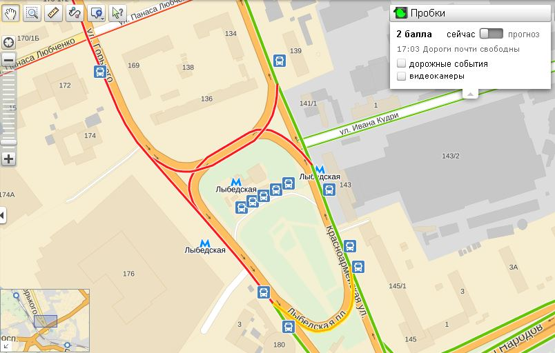 Затор возле метро Лыбедская