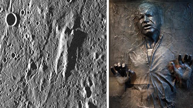 Хан Соло в карбоните и гора на поверхности Меркурия - поразительное сходство