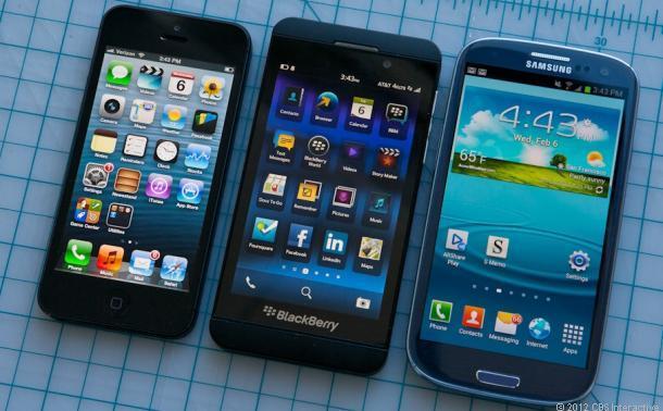 BlackBerry Z10, Apple iPhone 5, Samsung Galaxy S III