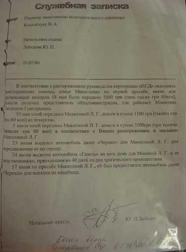 Служебная записка из уголовного дела. Завгар ИСД отчитывается об оказанной помощи. Упомянутые в отчете 5 тысяч гривен до Микитиных так и не дошли.