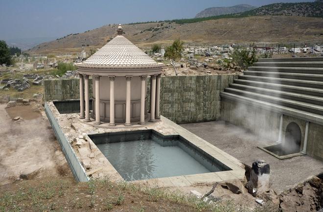 Компьютерная модель древнего храма и врат Плутона