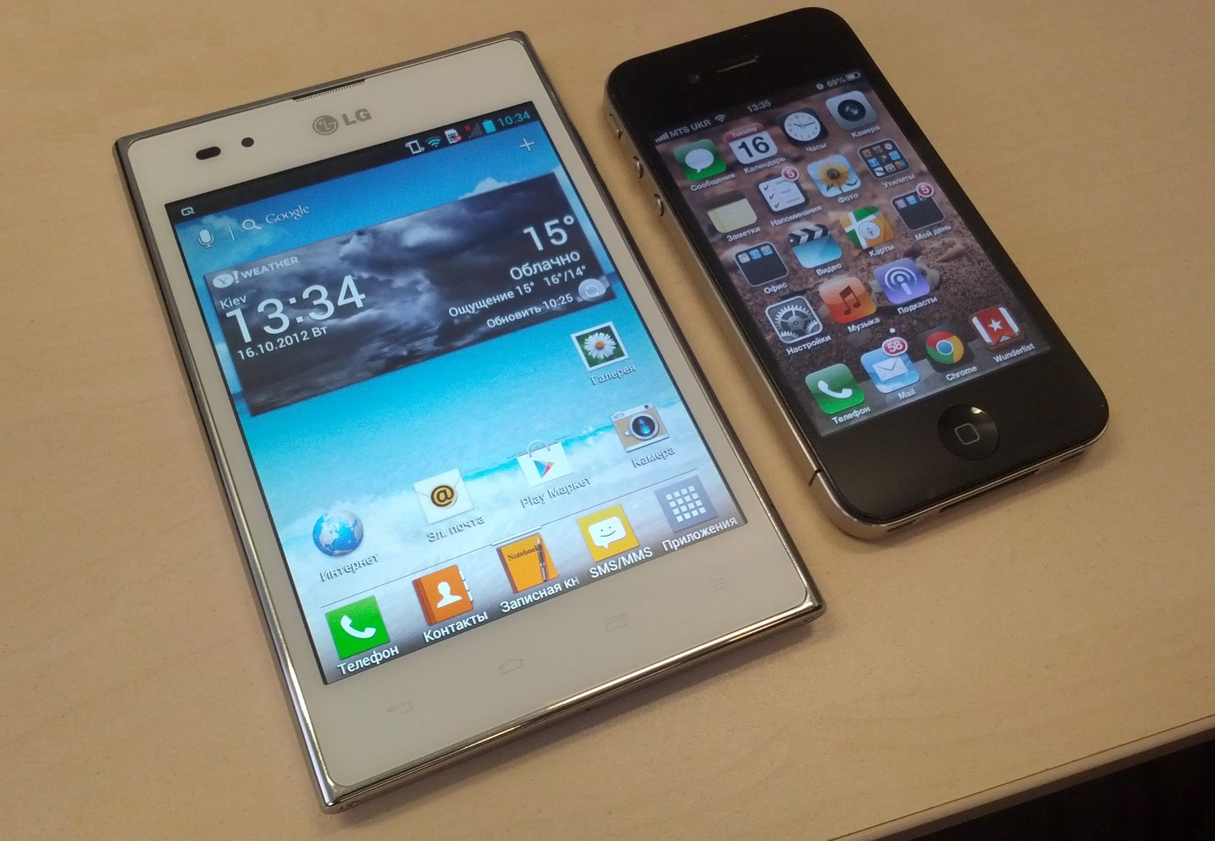 Optimus Vu в сравнении с iPhone 4