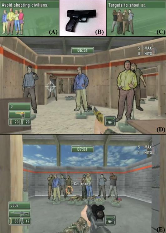 Скриншоты из использованного в исследовании шутера и специальный игровой пистолет, позволяющий имитировать настоящую стрельбу