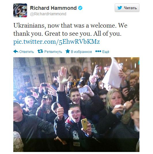 Ричард Хаммонд поблагодарил фанатов за теплый прием