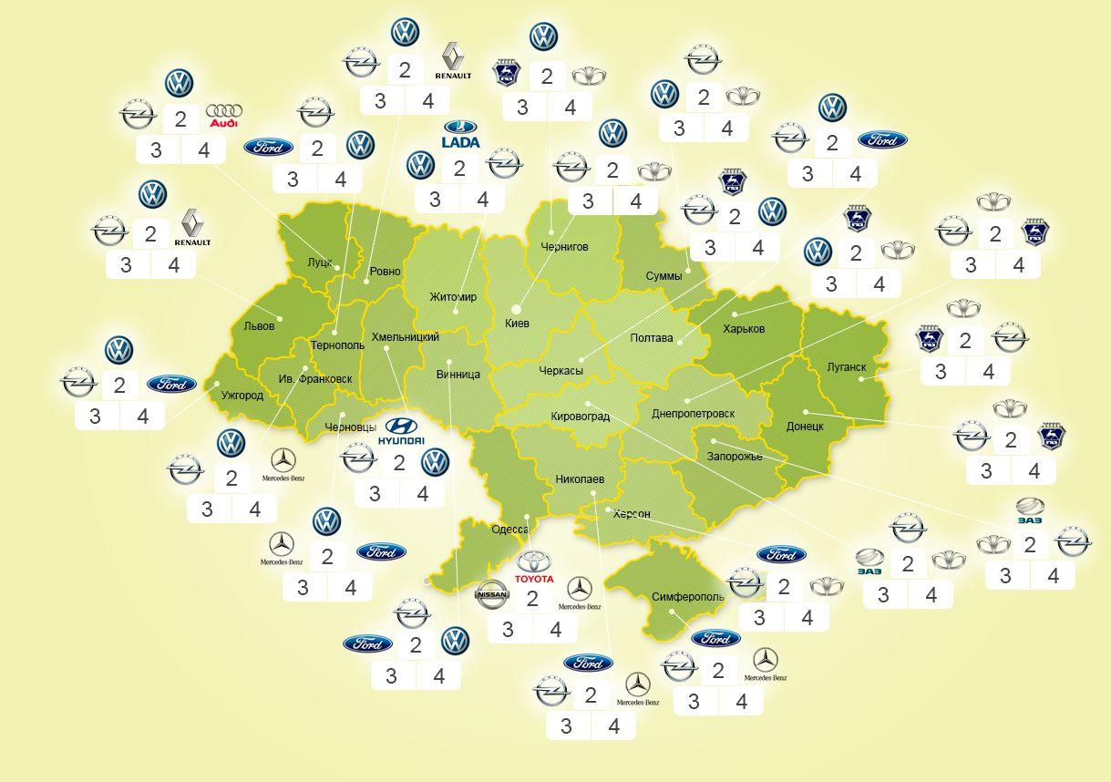 Популярность б/у автомобилей по регионам. На первом месте везде ВАЗ