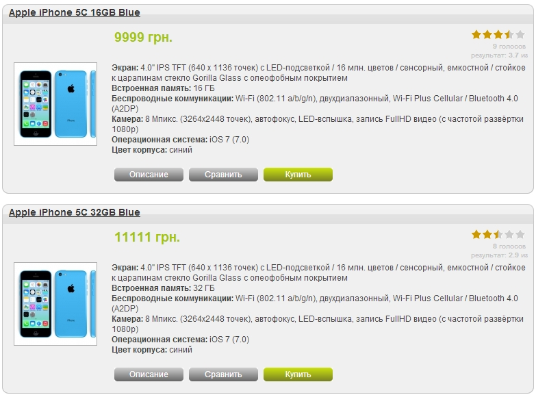 Цены на iPhone 5C в Украине