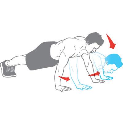 Альтернативное отжимание объединяет два упражнения