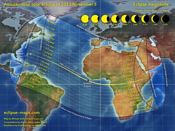 Где будет видно гибридное солнечное затмение