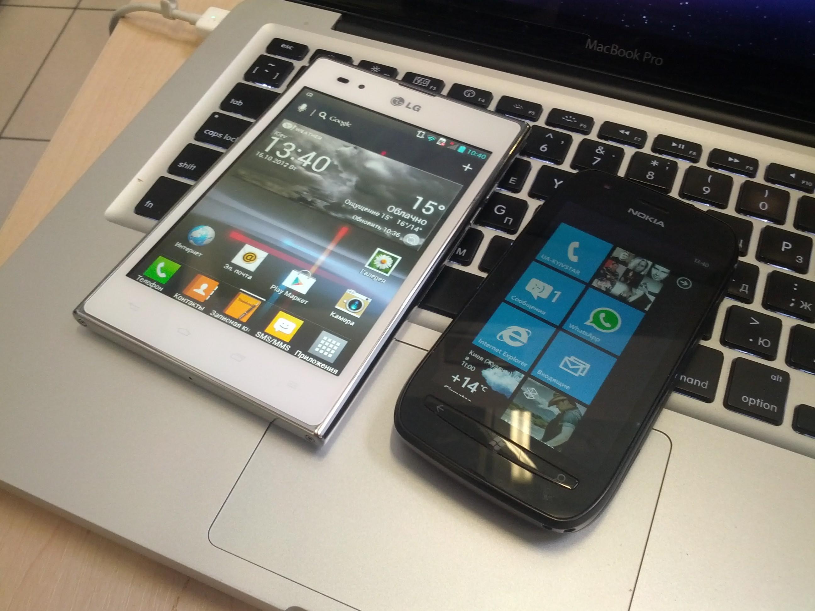Optimus Vu в сравнении с Nokia Lumia 710