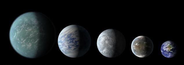 Слева направо:  Kepler 22b, Kepler 69c, Kepler 62e, Kepler 62f и Земля