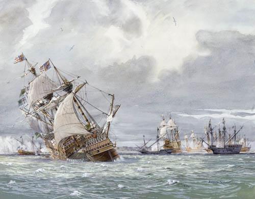 Перегруженные артиллерией корабли кренятся и тоже идут ко дну