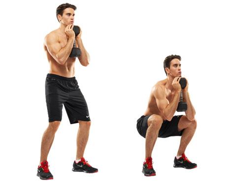 Опускайся до тех пор, пока бедра не станут параллельны полу. Упражнение укрепляет мышцы спины, рук и коленные сухожилия