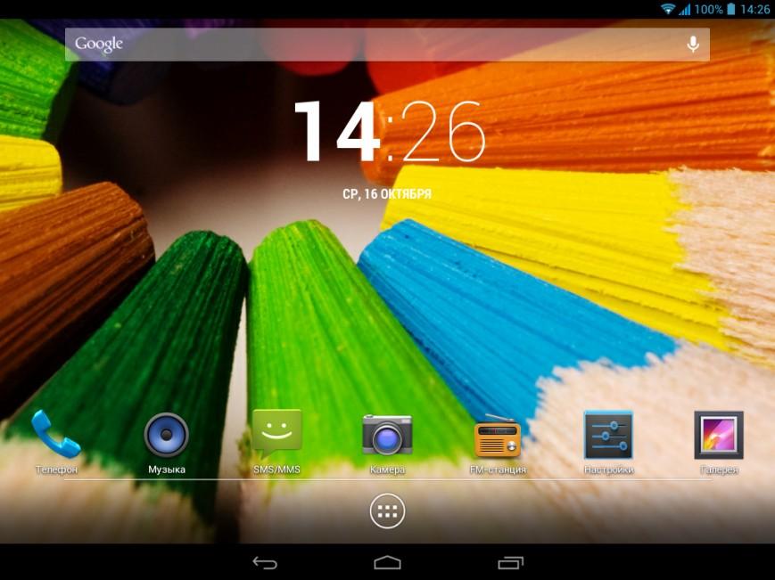 iconBIT NetTAB SKAT 3G - Главный экран