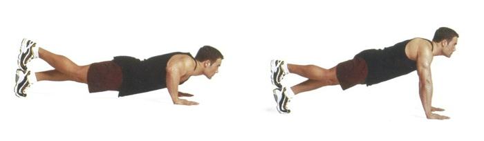 Отжимание с опорой на одну ногу активно задействует мышцы пресса