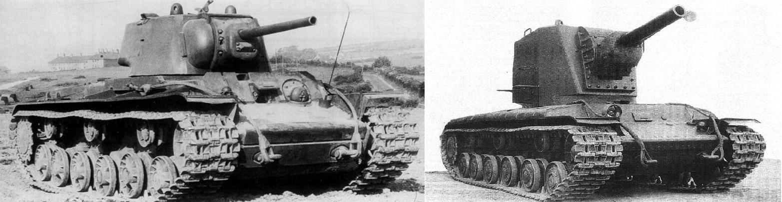 Слева направо: КВ-1 и КВ-2