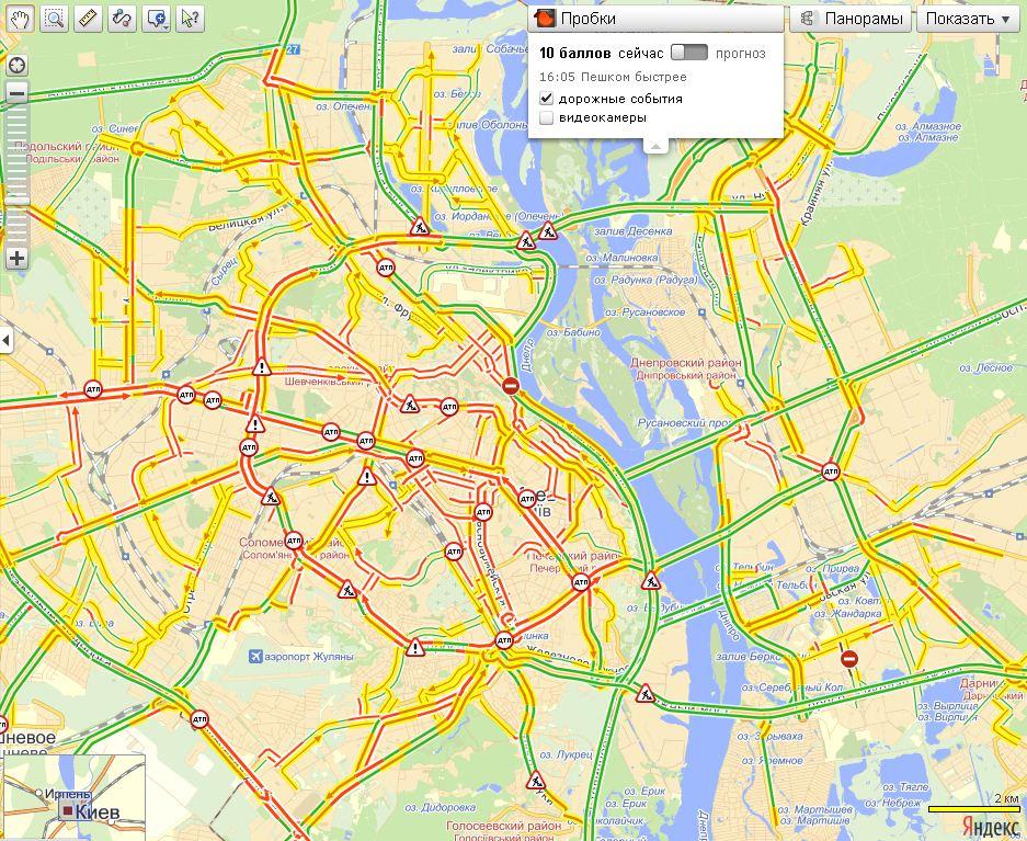Яндекс. Пробки показывают максимальные 10 баллов