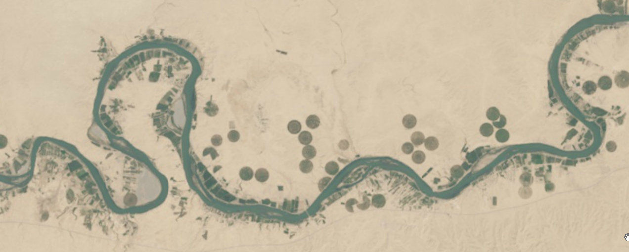 Оросительные круги близ реки Эль-Асад