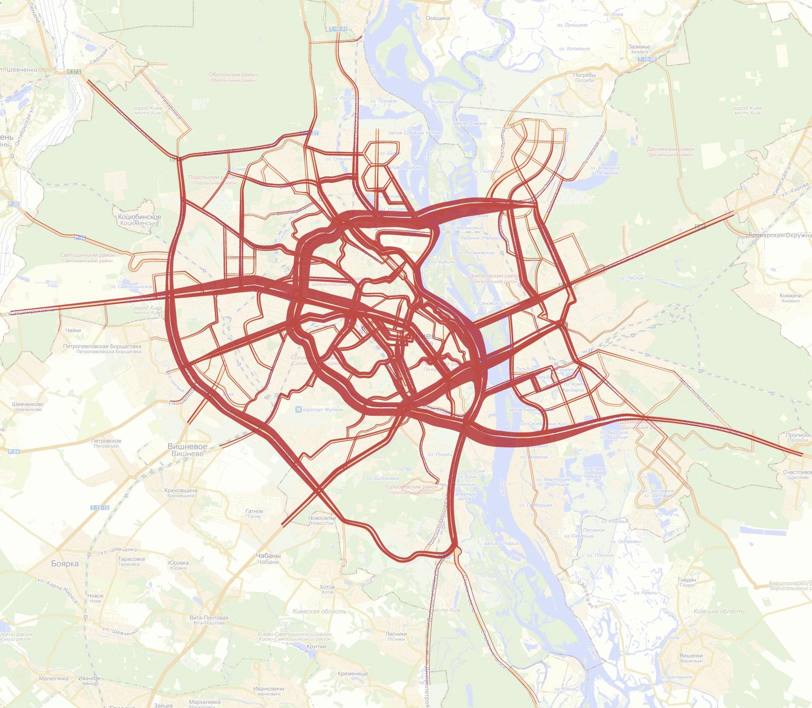 Загруженность киевских дорог вечером (с 18:00 до 20:00). По данным с 3 по 14 декабря.