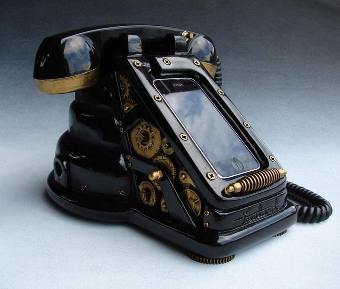 Док-база для iPhone в стиле стимпанк