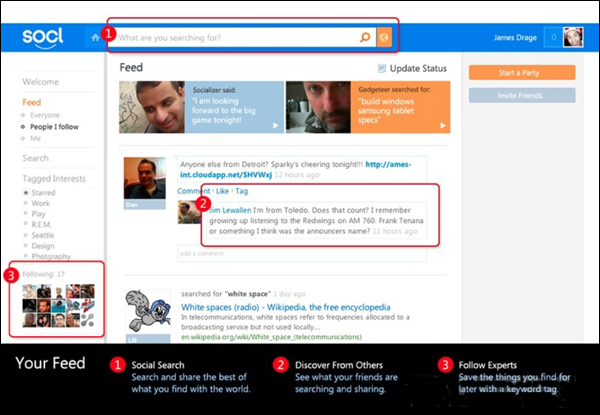 Интерфейс социальной сети Socl
