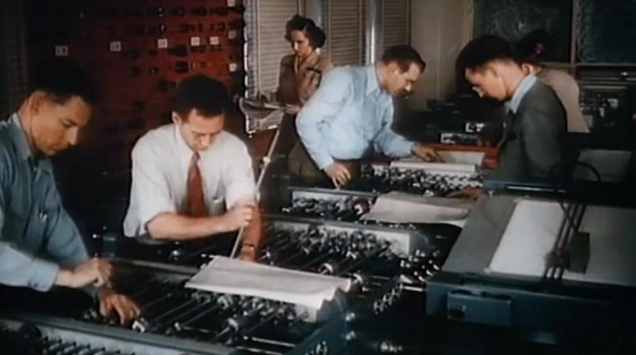 Настройка аналогового компьютера 1948 года