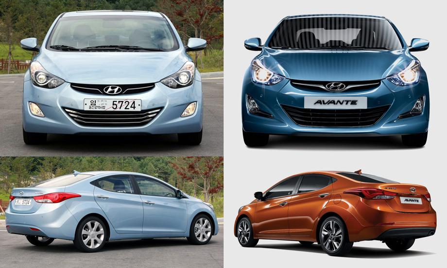 Hyundai Elantra до фейслифта (слева) и после (справа)