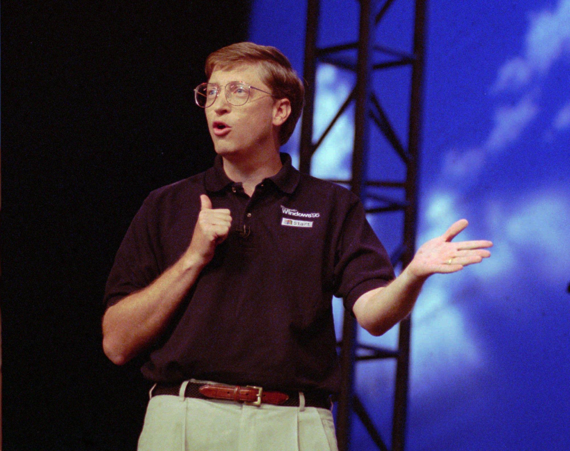 Билл Гейтс на презентации Windows 95