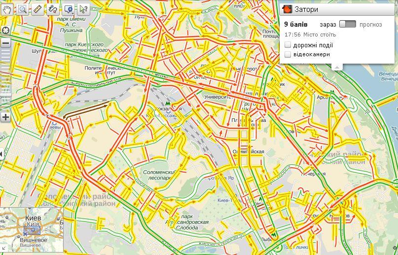27 сентября пробки в Киеве достигли 9 баллов